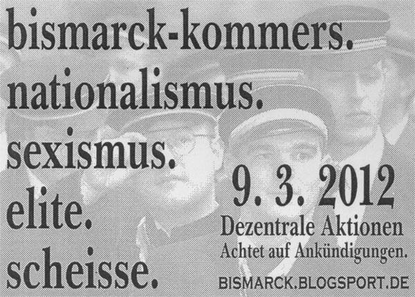 Dezentrale Aktionen gegen den Bismarck-Kommers 2012